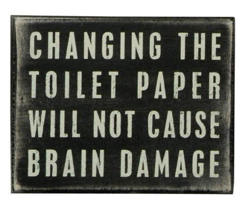 Primitives by Kathy Classic Box Sign, 5 x 4-Inches, Changing The Toilet - Primitive Country Sign Blocks