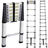 Soges 12.5ft Aluminum Telescopic Extension Ladder,12 Steps Extendable Telescoping Ladder with Spring Loaded Locking Mechanism Non-slip Ribbing 330 Pound Capacity EN131 Certified,JF-001-CA