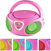 auna Roadie • Boombox • CD • USB Port • MP3 • Radio • Stereo • Bluetooth • LED Multi-Color Play • 3.5mm Cinch Audio-Jack • Built-in2x 1.5W Speakers • Power Supply Operation • Battery Operation • Pink