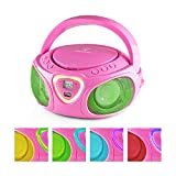 auna Roadie • Boombox • CD • USB Port • MP3 • Radio • Stereo • Bluetooth • LED Multi-Color Play • 3.5mm Cinch Audio-Jack • Built-in 2x 1.5W Speakers • Power Supply Operation • Battery Operation • Pink
