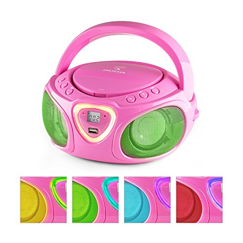 auna Roadie  Boombox  CD  USB Port  MP3  Radio  Stereo  Bluetooth  LED Multi-Color Play  3.5mm Cinch Audio-Jack  Built-in2x 1.5W Speakers  Power Supply Operation  Battery Operation  Pink