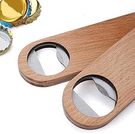 yywl Sacacorchos de madera plana para cerveza, abridor de botellas, estilo vintage, mango de madera, herramienta de cocina
