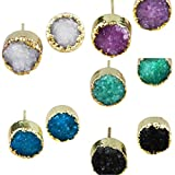 SUNYIK Women's Natural Quartz Geode Druzy Stud Earrings