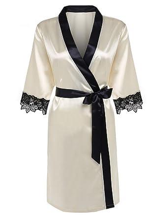 OURS Women s Short Kimono Robe Lingerie Bridal Lace Trim Satin Sleepwear  (XS 73bb3cf69