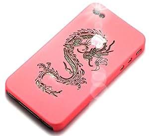 """""""Dragón"""" Rosado Claro, Cubierta de plástico duro & """"Pogo"""" Violeta, Auténtico lápiz táctil capacitivo - para iPhone 4S. Paquete único de Cubierta / Estuche / Carcasa / Funda y lápiz para iPhone 4S."""