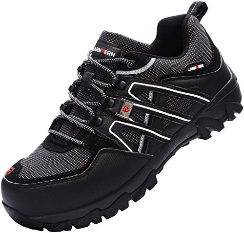 - LARNMERN Steel Toe Shoes Men, Safety Work Reflective Strip Puncture Proof Footwear Industrial & Construction Shoe (12, Black)