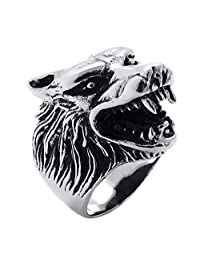 Konov Jewelry Mens Stainless Steel Wolf Head Ring, Silver Black, with Gift Bag, C21016