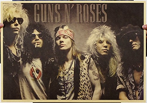 Fangeplus(TM) Guns N Roses -80s Classic Group Shot Logo Poster Antique Vintage Old Style Decorative Poster Print Wall Coffee Shop Bar Decor Decals (1980s Rose)