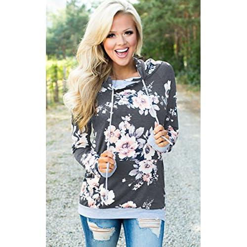 842c3f041e18 Angashion Women Hoodies-Tops- Floral Printed Long Sleeve Pocket Drawstring  Sweatshirt With Pocket cheap