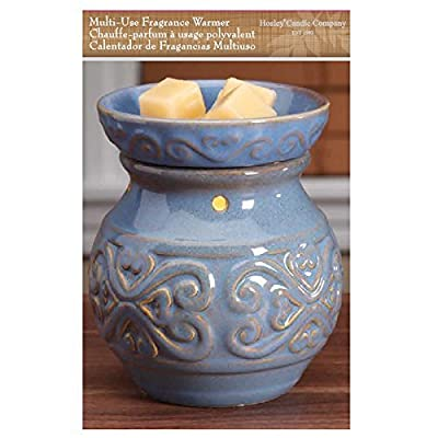 "Hosley Candle Company 6"" High Blue Ceramic Electric Warmer. Ideal for spa and aromatherapy. Use with HOSLEY brand wax melts / cubes, essential oils and fragrance oils."
