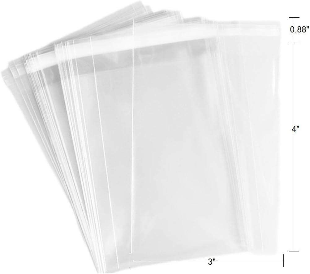 100 Pcs 3x4 2Mil Clear Flat Cello / 3