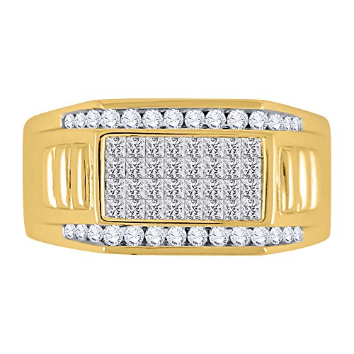 KATARINA Round and Princess Cut Diamond Men's Ring in 10K Yellow Gold (1 cttw, G-H, VS2-SI1) (Size-7.25)