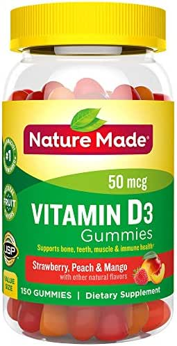 Nature Made Vitamin D3 50 mcg (2000 IU) Gummies, 150 Count for Bone Health† (Packaging May Vary)