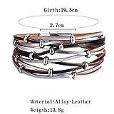 Dream_Mimi Multi-Layer Leather Bracelet Braided Cuff Bangle Alloy Magnetic Clasp Jewelry Bracelet Bangle