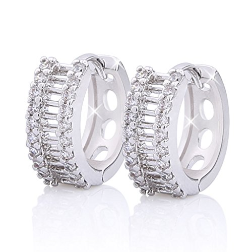 Tone Round Earrings - GULICX Ladies Gift Hallow-out Round Hoop Huggie Earrings Clear Zircon Silver Tone
