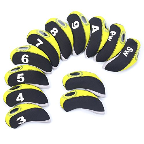 SummerHouse 12 Pcs Waterproof Golf Iron Head Covers 3-9 A/S/