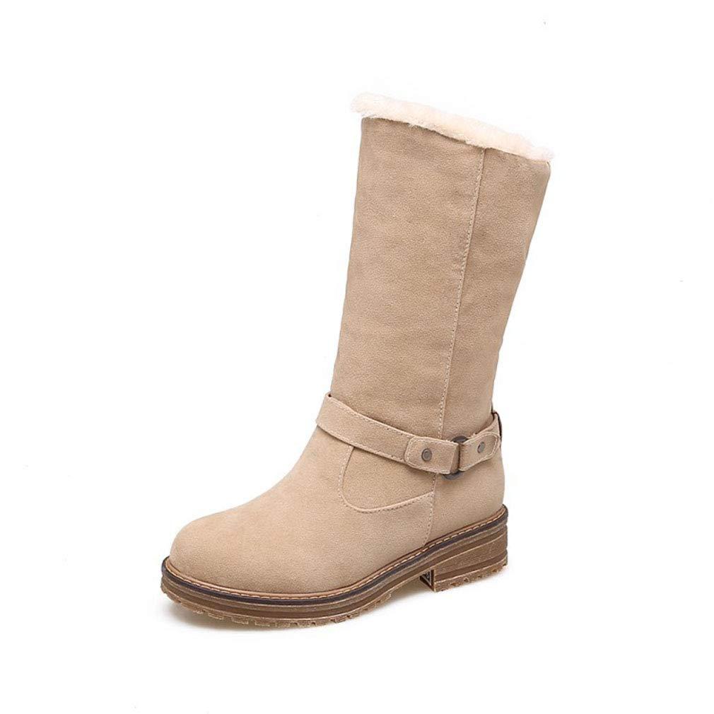H&Y Damen Stiefel Winter Wildleder Schneeschuhe/Wohnung große Größe Stiefelies/Damen Plus Cashmere warme Winterstiefel