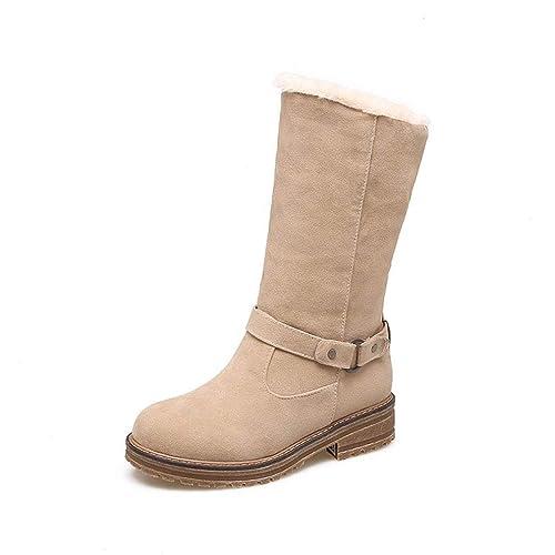 Botas de Mujer Botas para la Nieve de Invierno Gamuza/Botines Planos de Gran tamaño/Botas de Invierno de Cachemir más para Mujer: Amazon.es: Zapatos y ...
