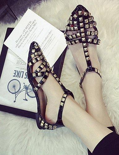 lfnlyx de zapatos de mujer Piel Sintética Tacón Plano Mary Jane/Punta Toe sandalias exterior/Casual Negro/Rojo/Plata Plateado - plata
