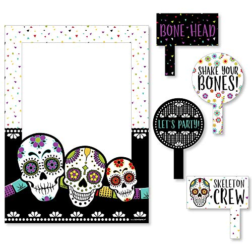 Big Dot of Happiness Day of the Dead - Halloween Sugar Skull Party Selfie Photo Booth Picture Frame and Props - Printed on Sturdy Material -