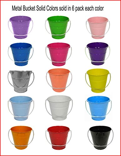 6 pack , Light Pink Metal Bucket 5' H x 6' click and pick color and size.