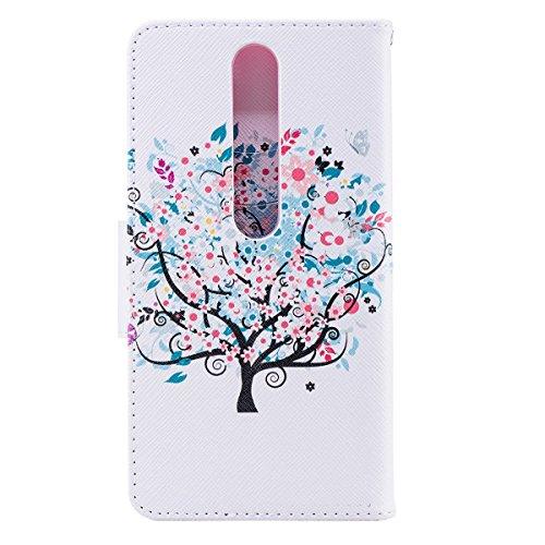 Funda para Nokia 6 2018,Grandcaser Double Layer Protectora Funda Suave PU Leather Cuero Libro Flip Estuche de Silicona Bumper Flexible Cover Carcasa - Flor Colorida Árbol Pequeño