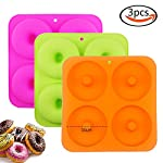"""BAKHUK 3Pack 4"""" Donut Baking Pan Full Size Non Stick Silicone Molds Donut Trays Donut Pans - 3 Colors 7 Large-sized donuts: This donut mold is suitable for making large-sized donuts. Mold length and width both are 9.3""""/23.3cm, single cavity diameter is 4""""/10cm, so the mold has a greater capacity. Multi-color options: package contains 3-colored molds, each mold contains four cavities. High quality: The mold is made of high quality food-grade silicone material, and is FDA certified. Thick texture, lovely colors."""