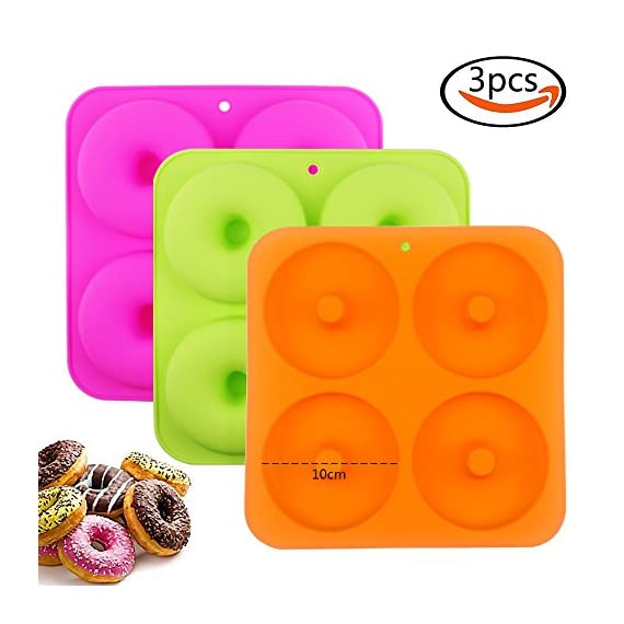 """BAKHUK 3Pack 4"""" Donut Baking Pan Full Size Non Stick Silicone Molds Donut Trays Donut Pans - 3 Colors 1 Large-sized donuts: This donut mold is suitable for making large-sized donuts. Mold length and width both are 9.3""""/23.3cm, single cavity diameter is 4""""/10cm, so the mold has a greater capacity. Multi-color options: package contains 3-colored molds, each mold contains four cavities. High quality: The mold is made of high quality food-grade silicone material, and is FDA certified. Thick texture, lovely colors."""