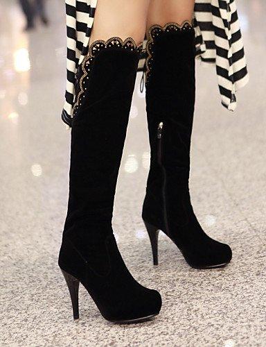 De Black Xzz Uk6 Eu39 Tacón Cn39 us8 Mujer La Negro Redonda Plataforma Zapatos Punta Vestido Uk3 Casual Stiletto Black Botas Vellón 5 Moda 5 Cn35 A us5 Eu36 1q5rw1H