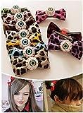 6Pcs Bloodshot eyeball leopard bow hair accessories hair ring hairpin headdress for girl Halloween gifts