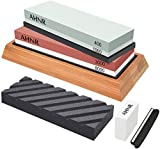 Whetstone Knife Sharpening Stone Set - 400/1000 and 3000/8000 Grit Whetstone Sharpener, Flattening Stone, Polishing Tool for Kitchen, Hunting and Pocket Knives or Blades by AHNR