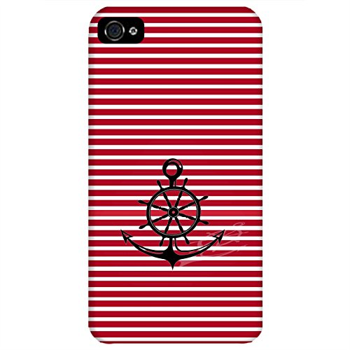 Coque Apple Iphone 4-4s - Ancre Barre Marine rouge