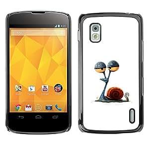 Caracol Ojos Stoned minimalista Dibujo- Metal de aluminio y de plástico duro Caja del teléfono - Negro - LG Nexus 4 E960
