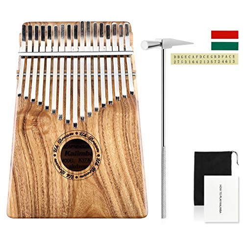 UK Dream Kalimba 17 key Thumb Piano Solid Finger Piano with Hammer&Android/iOS APP Tuning Mbira Koa Wood Body Ore Metal Tines Marimba Musical Gift UK-K17K