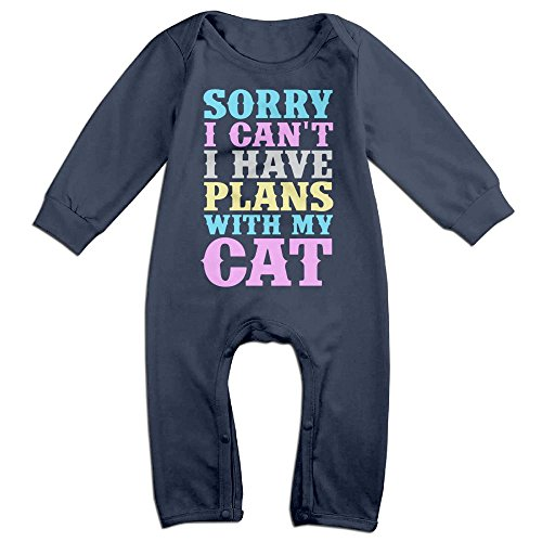 Kim Kardashian Cat Costume (Baby Infant Romper Sorry I Cant..I Have Plans With My Cat Long Sleeve Playsuit Outfits Navy 18 Months)