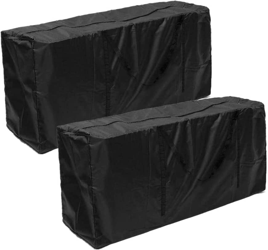 skyfiree Patio Cushion Storage Bag Outdoor Cushion Cover Patio Protective Bags Zippered with Handles 68x30x20 Inches Furniture Cover Waterproof Cover Storage Bag Black