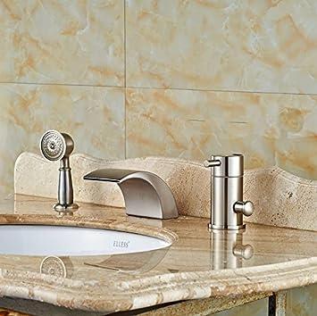 Retro Deluxe FaucetingWidespread Gebürstetem Nickel Whirlpool Wasserhahn Im  Waschbecken Im Bad Tippen Sie Auf Mischpult Armatur