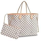 Leather House Neverfull Style Designer Woman Organizer Handbag Monogram Tote Shoulder White(Pink) 40x32x20cm