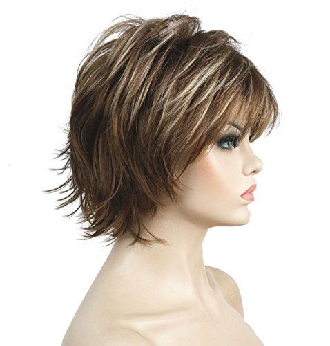 (Lydell Short Layered Shaggy Full Synthetic Wig Wigs 12TT26 Brown Highlights)