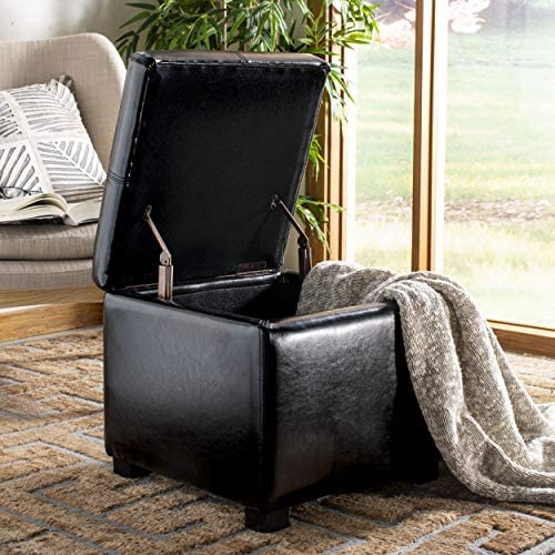 Deal of the week: Safavieh Hudson Collection Williamsburg Black Leather Square Storage Ottoman