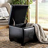 Black Leather Storage Footstool Safavieh Hudson Collection Williamsburg Black Leather Square Storage Ottoman