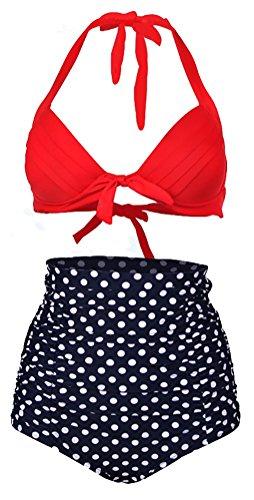 ISHOW Retro Vintage Print Halter High-Waist Tankini Set Bikini Swimsuits from ISHOW