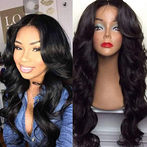 Inkach Long Fluffy Curly Wigs for Black Women Full Hair Wigs with Air Bangs Heat Resistant Synthetic Fiber Cosplay Party Female Wig Natural Looking (Coffee) ()