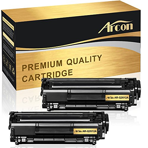 Arcon 2 Packs Compatible for Q2612A Black Toner Cartridge HP 12A Q2612A Toner Cartridge for HP Laserjet Printer 1010 1012 1015 1018 1020 1022 1022n 1022nw 3015 M1005 M1319F Printer Ink ()