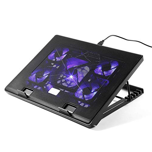 E.I.H. Notebook Cooling Pad LESHP S500 5 Big Fan 2 USB Laptop Cooler Cooling Pad Base LED Notebook Cooler Computer Fan Stand for Laptop PC Video 12-17'' by E.I.H. (Image #9)