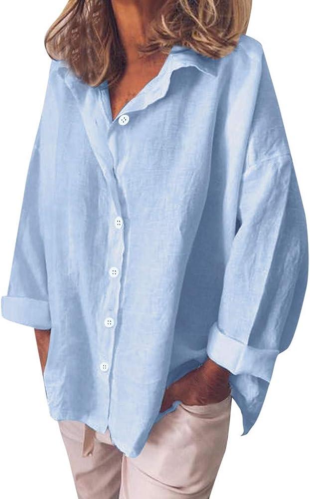 Camisas Mujer Manga Larga Blusa Suelto Color Sólido Botones Tops Blusa Demasiado Grande Shirt Casual Camisa Arriba: Amazon.es: Ropa y accesorios