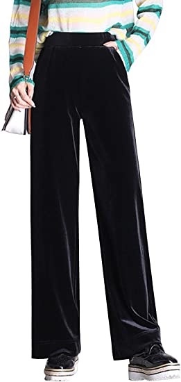Womens Black Palazzo Wide Straight Leg Trouser Elastic Waist Plus Size New