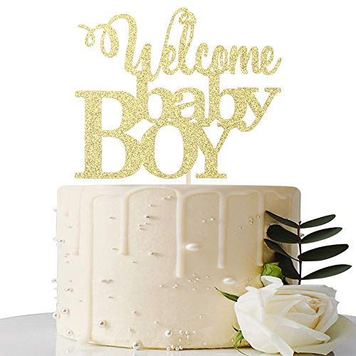 Gold Welcome Baby Boy Cake Topper - Baby Shower Party Decorations - Gender Reveal for Baby Boy Party Decorations