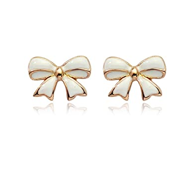 163f13ff8 Amazon.com: Simple Gold Tone Bow Tie Ribbon Stud Earrings Fashion Jewelry  for Women (White): Jewelry
