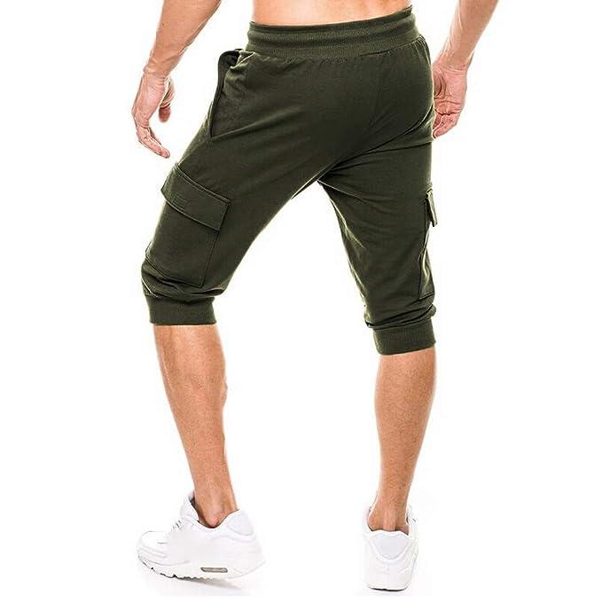 TEBAISE Herren 3 4 Sporthose Sommer Outdoor Cargo Shorts Baumwolle  Multi-Tasche Bermuda Casual Vintage Kurze Hose Sommerhose Knielänge Hosen  in ... a3bdd871ed